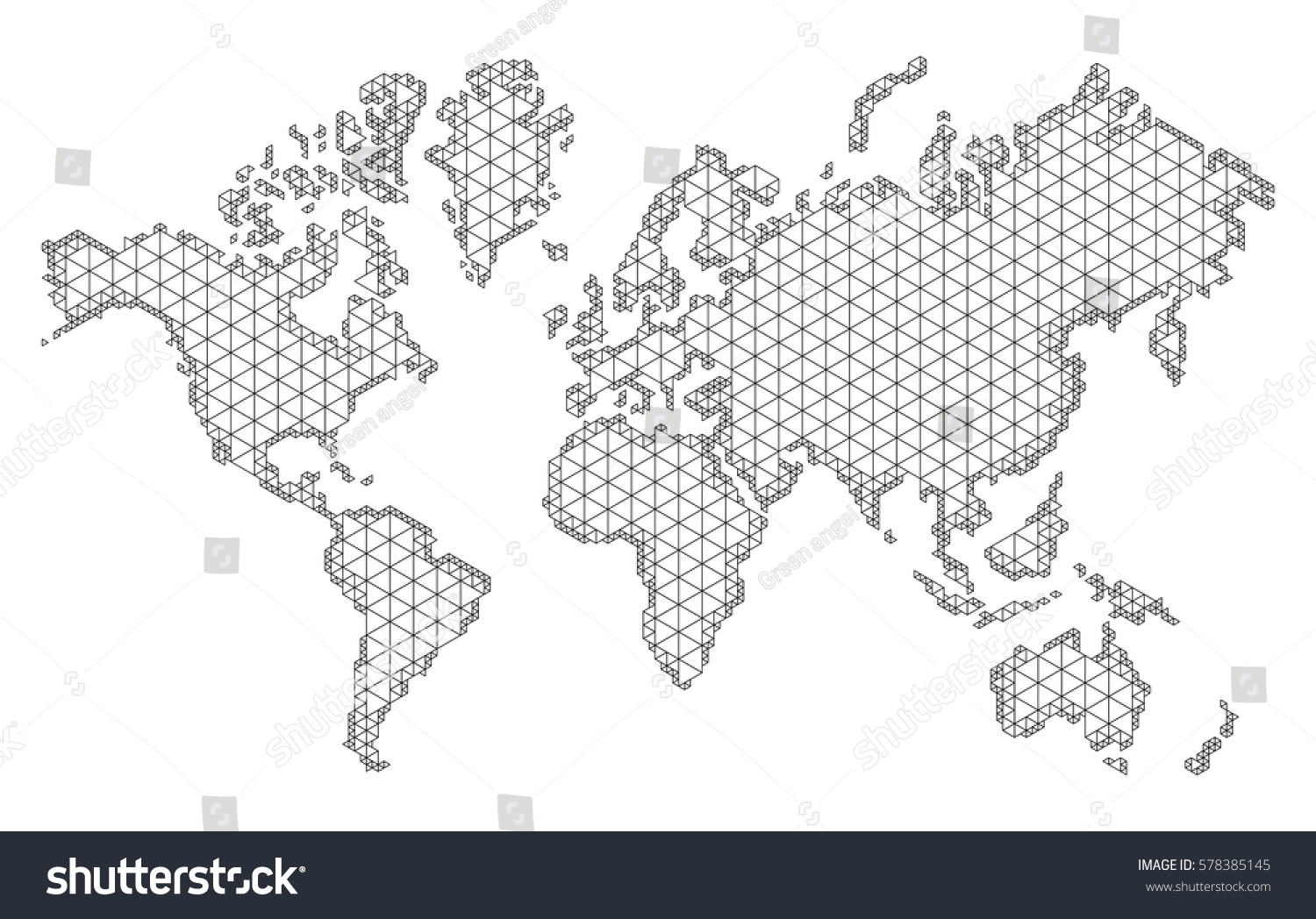Map World Trendy Triangles Design Polygon Stock Vector (Royalty