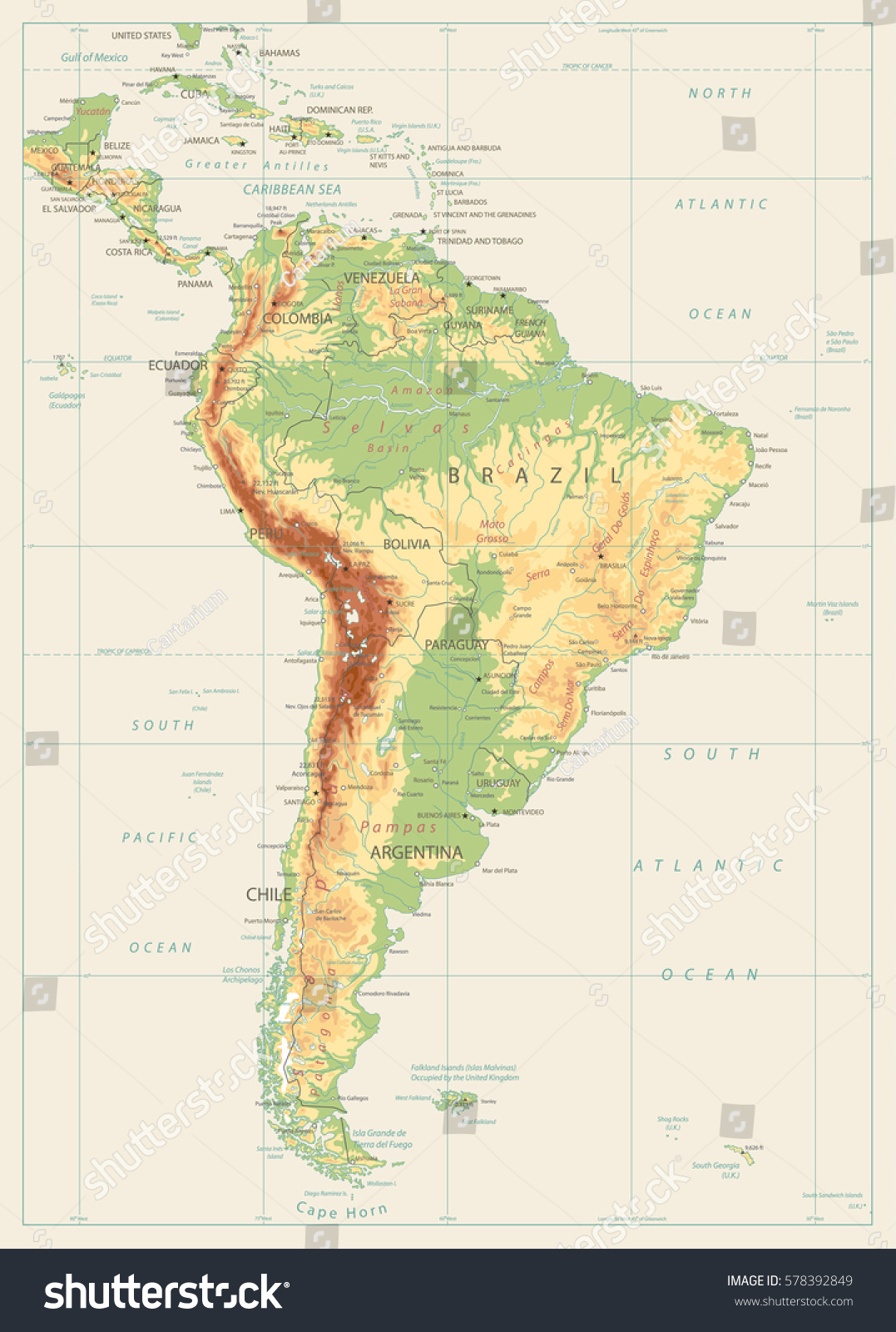South America Detailed Physical Map Global Stock Vector - Chile physical map