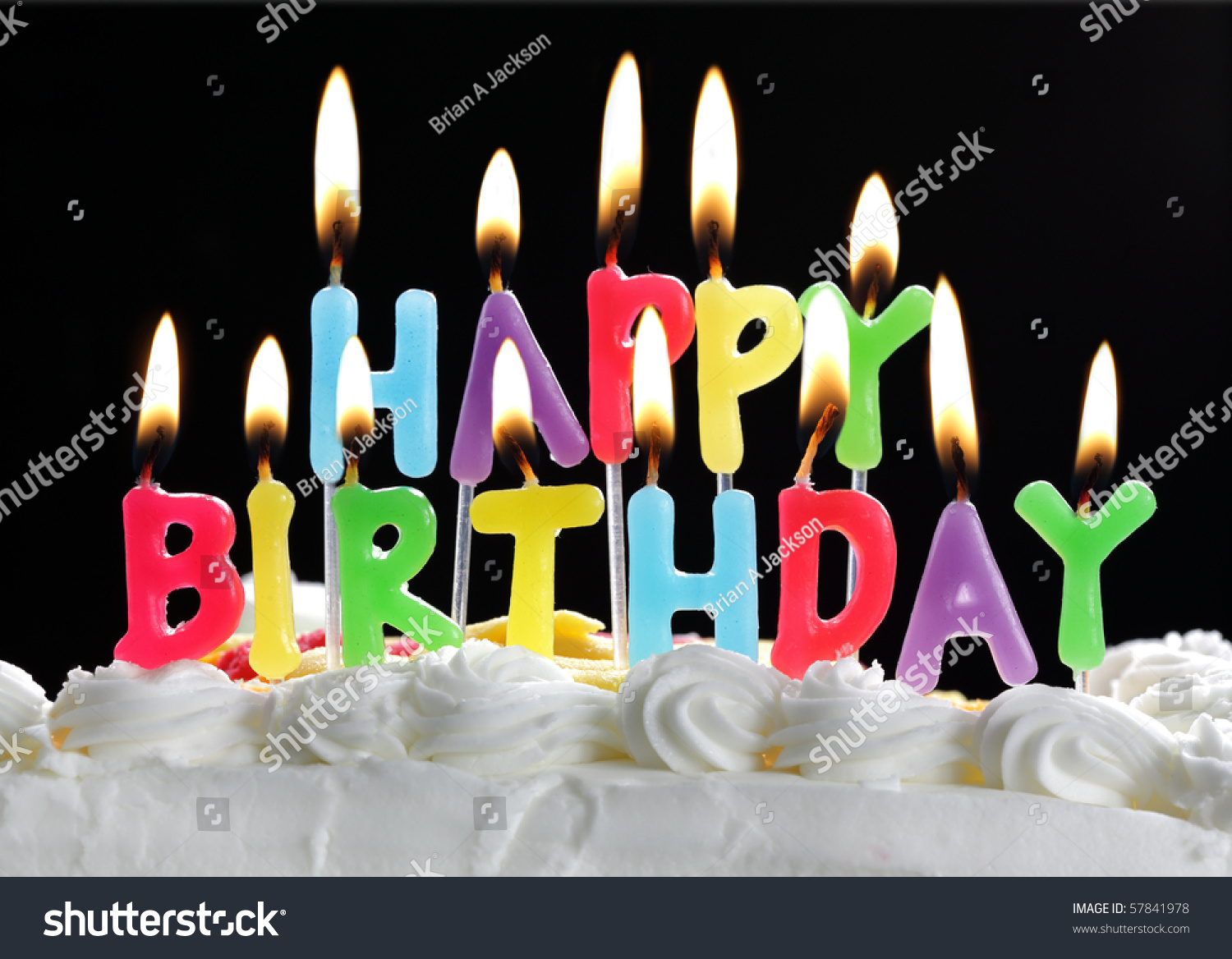 Colorful Happy Birthday Candles Burning On Stock Photo 57841978
