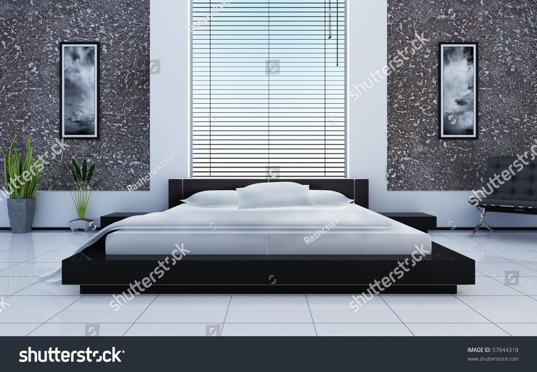 Modern interior of a sleeping room. Modern Interior Sleeping Room Stock Illustration 57844318