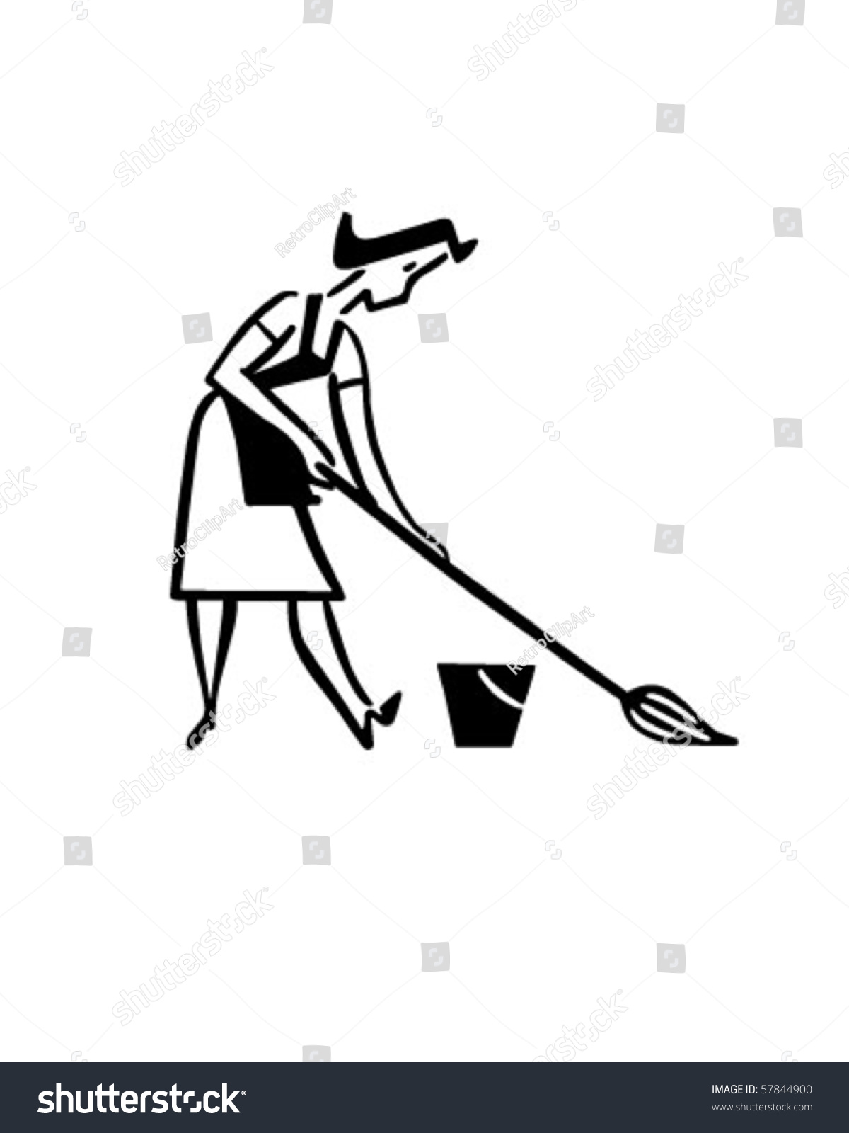 Daily Cleaning Woman Mopping Floor Retro Stock Vector 57844900 ...