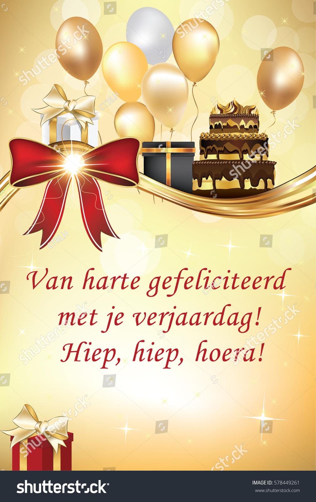 hartelijk gefeliciteerd met jouw verjaardag Dutch Happy Birthday Greeting Card Congratulations Stock  hartelijk gefeliciteerd met jouw verjaardag