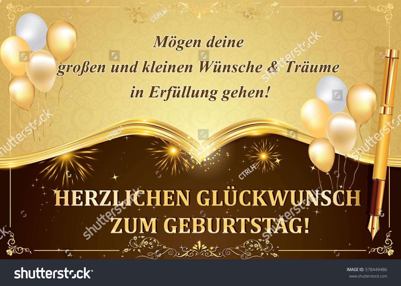 German Birthday Greeting Card May All Stock Illustration 578449486