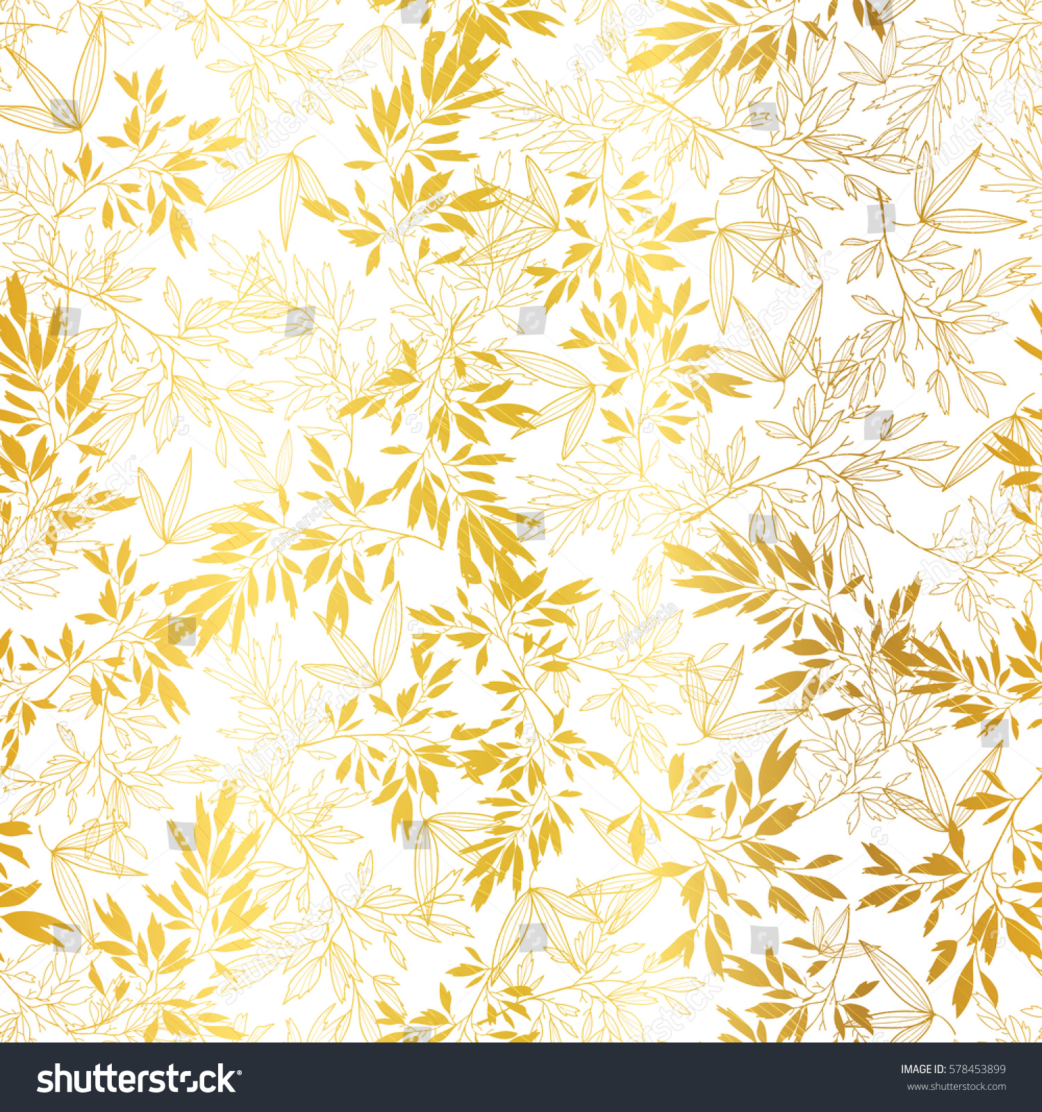 Vector Gold On White Asian Leaves Stock Vector Royalty Free