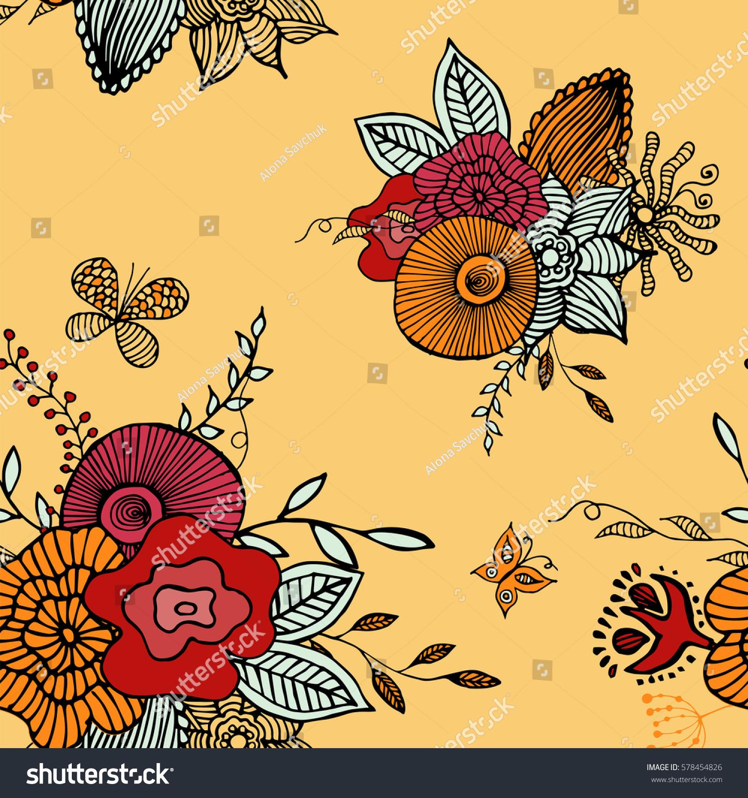 Botanic Texture Detailed Flowers Illustrations Doodle Stock Vector