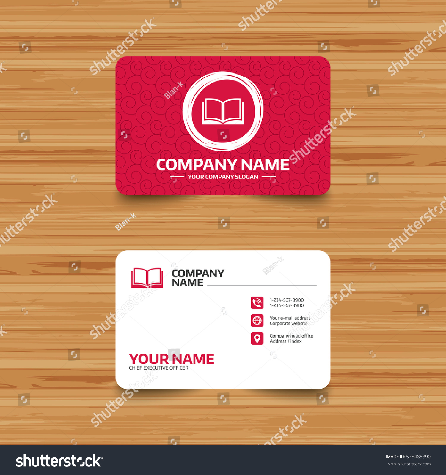 Business Card Template Texture Book Sign Stock Illustration ...