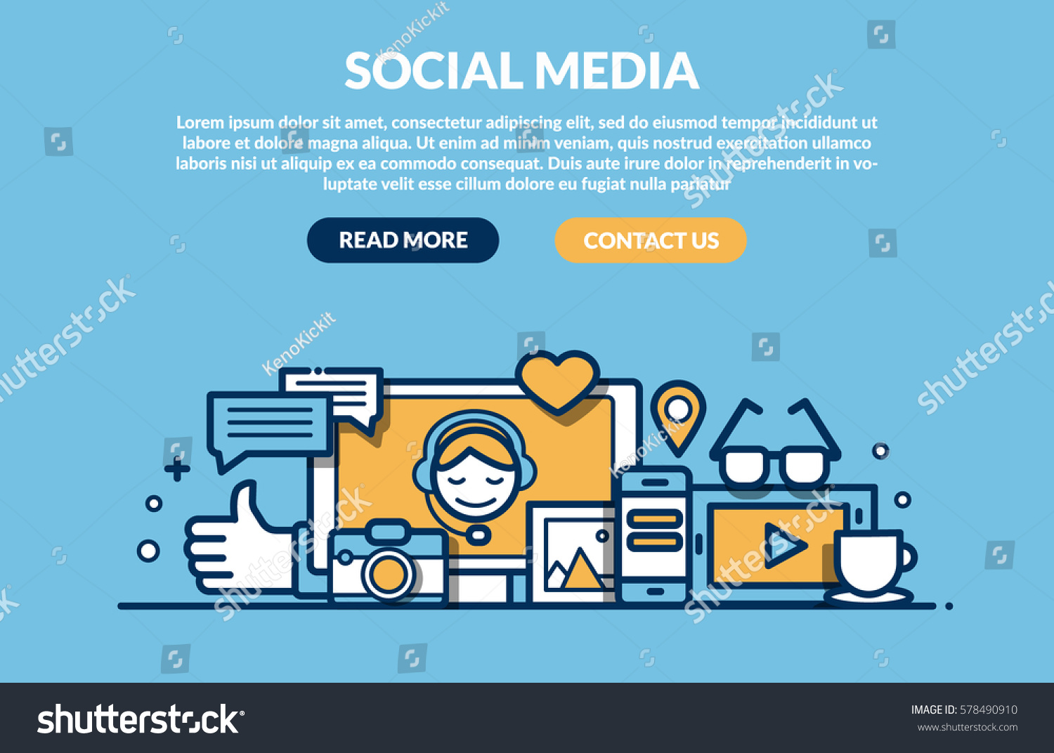 Social Media Concept for web site. Vector illustration #578490910