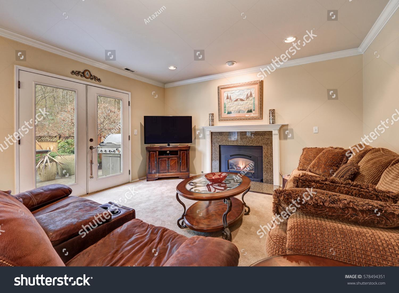 Family Room Design Brown Beige Tones Stock Photo Edit Now 578494351