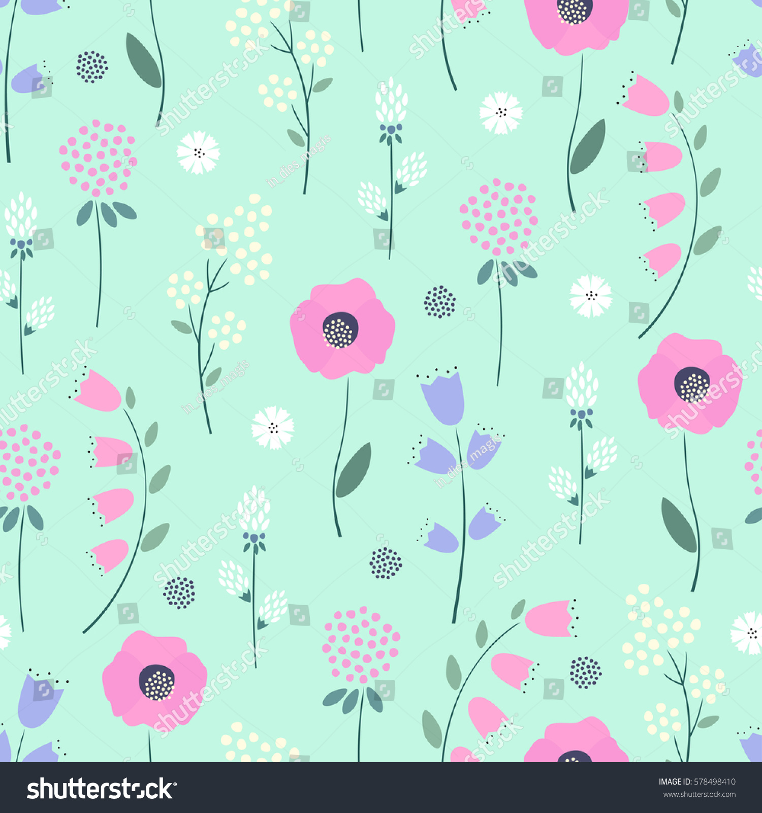 Floral Pattern On Mint Green Background Stock Vector Royalty Free