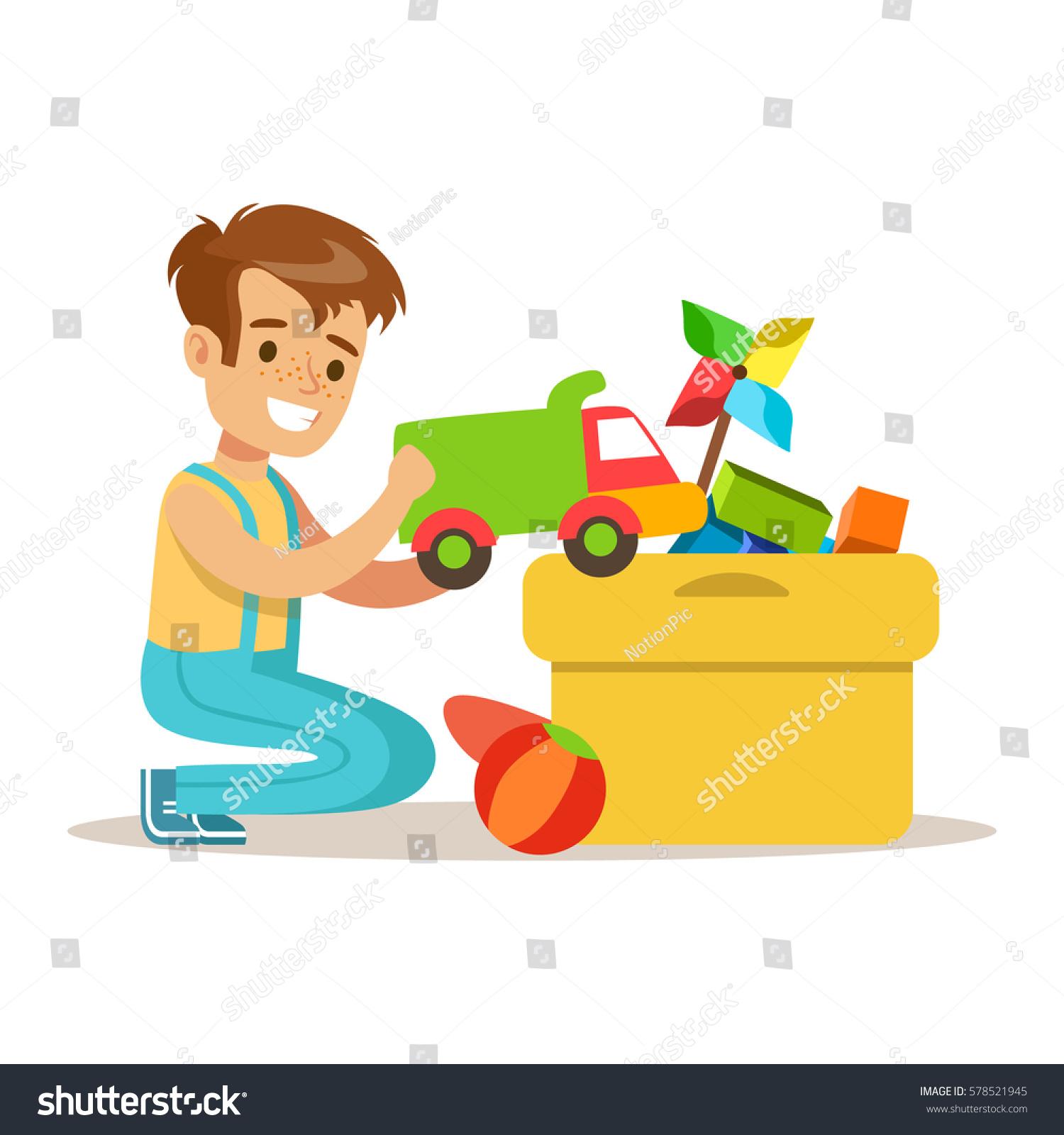 Little Boy Many Toys Box Part Stock Vector Shutterstock