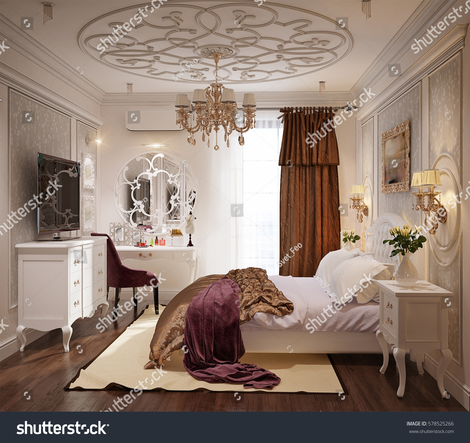 Fabulous Luxury Bedroom Interior Design In Classic Style With White Bed And  Silk Bedding D Rendering With D Classic Interior Design