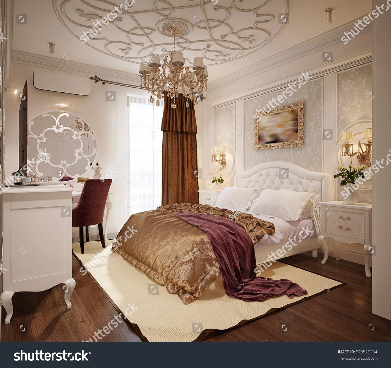 Luxury Classic Interior Design Bedroom Luxury bedroom interior design in classic style with white bed and silk  bedding. 3d rendering