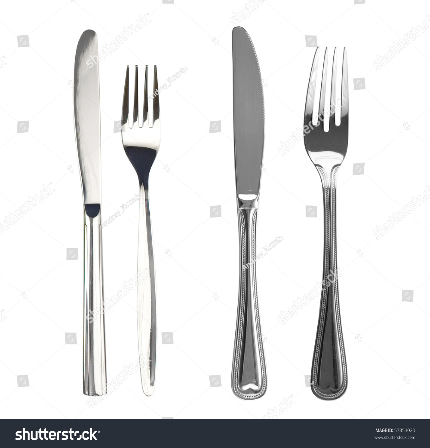 Set knives forks isolated stock photo 57854020 shutterstock - Knives and forks sets ...