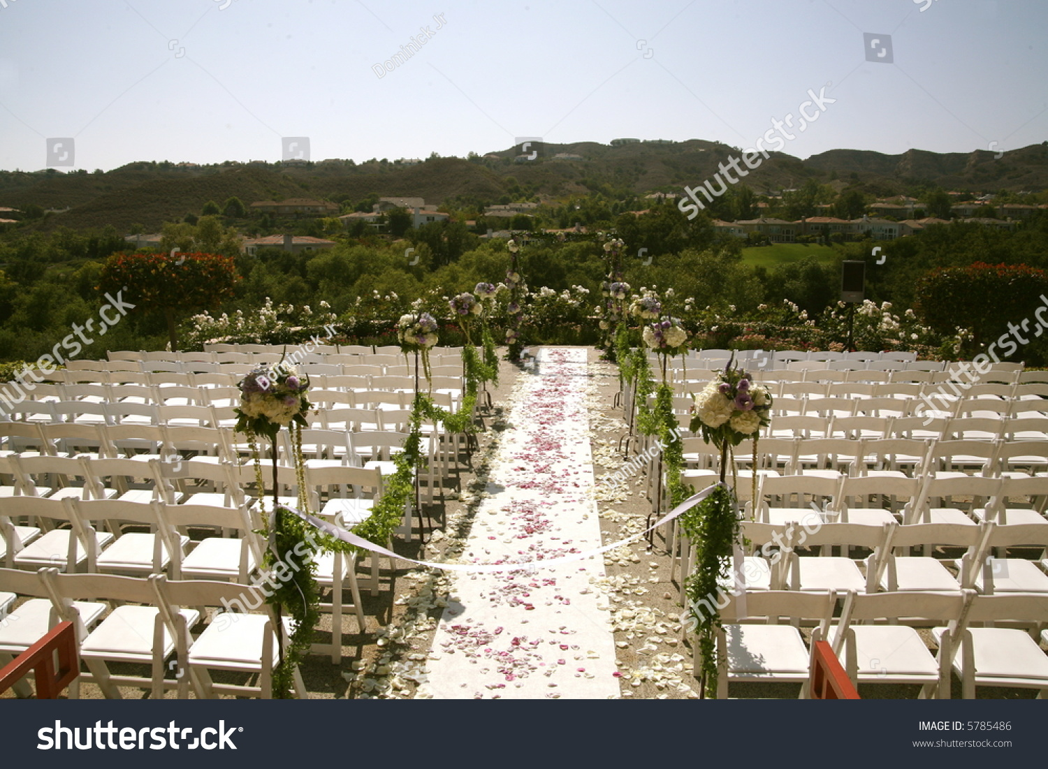 Table Reception Flowers Chairs Ceremony Wedding Stock Photo 5785486