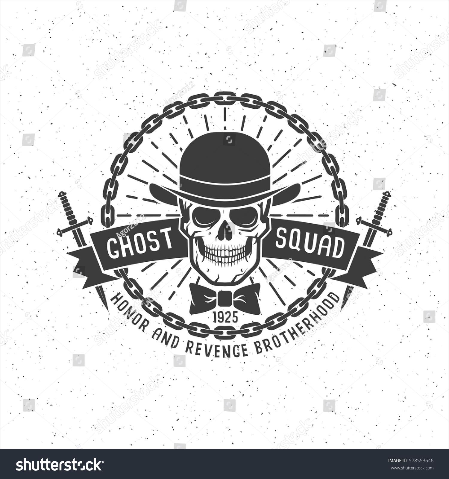 retro logo tattoo gangster brotherhood skull stock vector