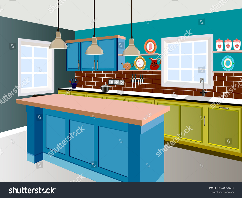 Kitchen Kitchen Interior Furniture Kitchen Illustration Stock Vector ...