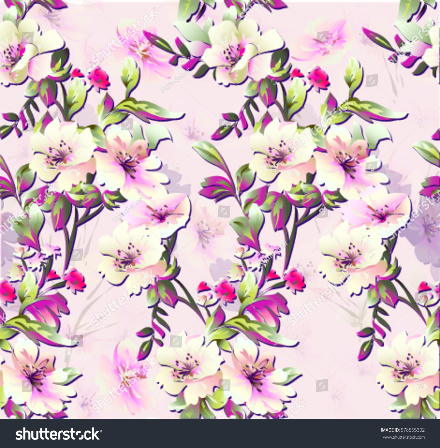 Pattern Spring Flowers On Background Small Stock Vector Royalty