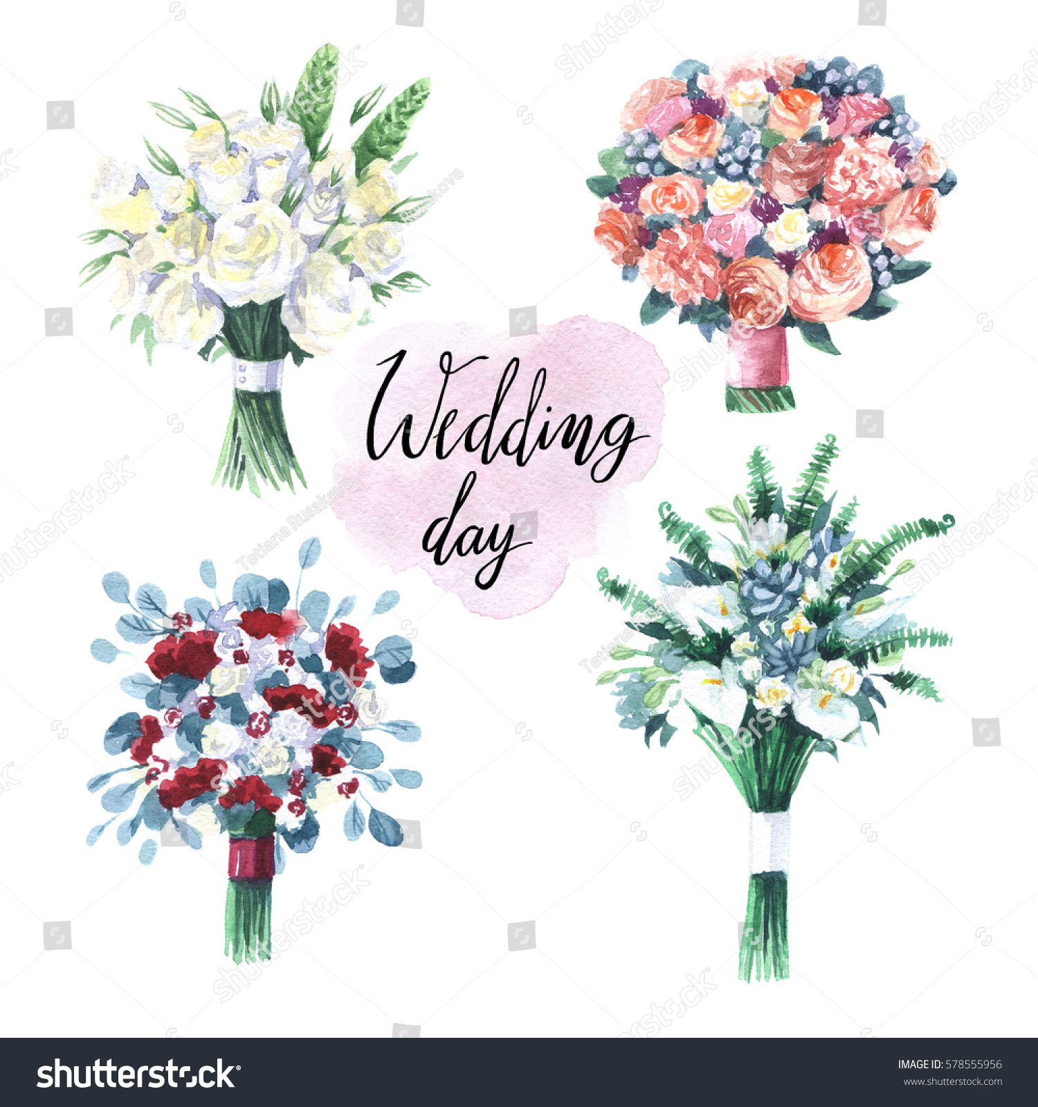 Four Different Types Wedding Bouquets Stock Illustration 578555956 ...