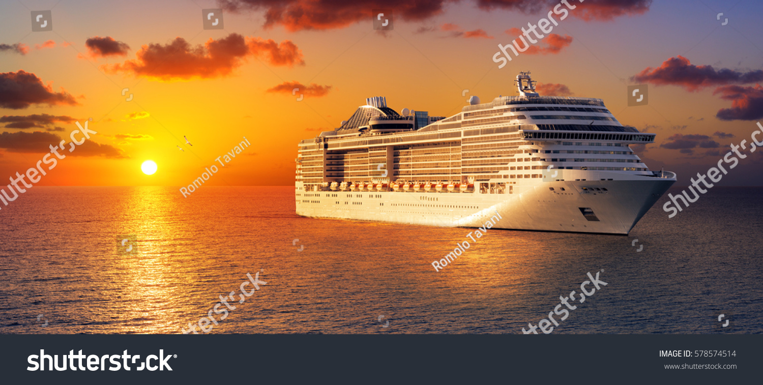 Cruise At Sunset In Ocean  #578574514