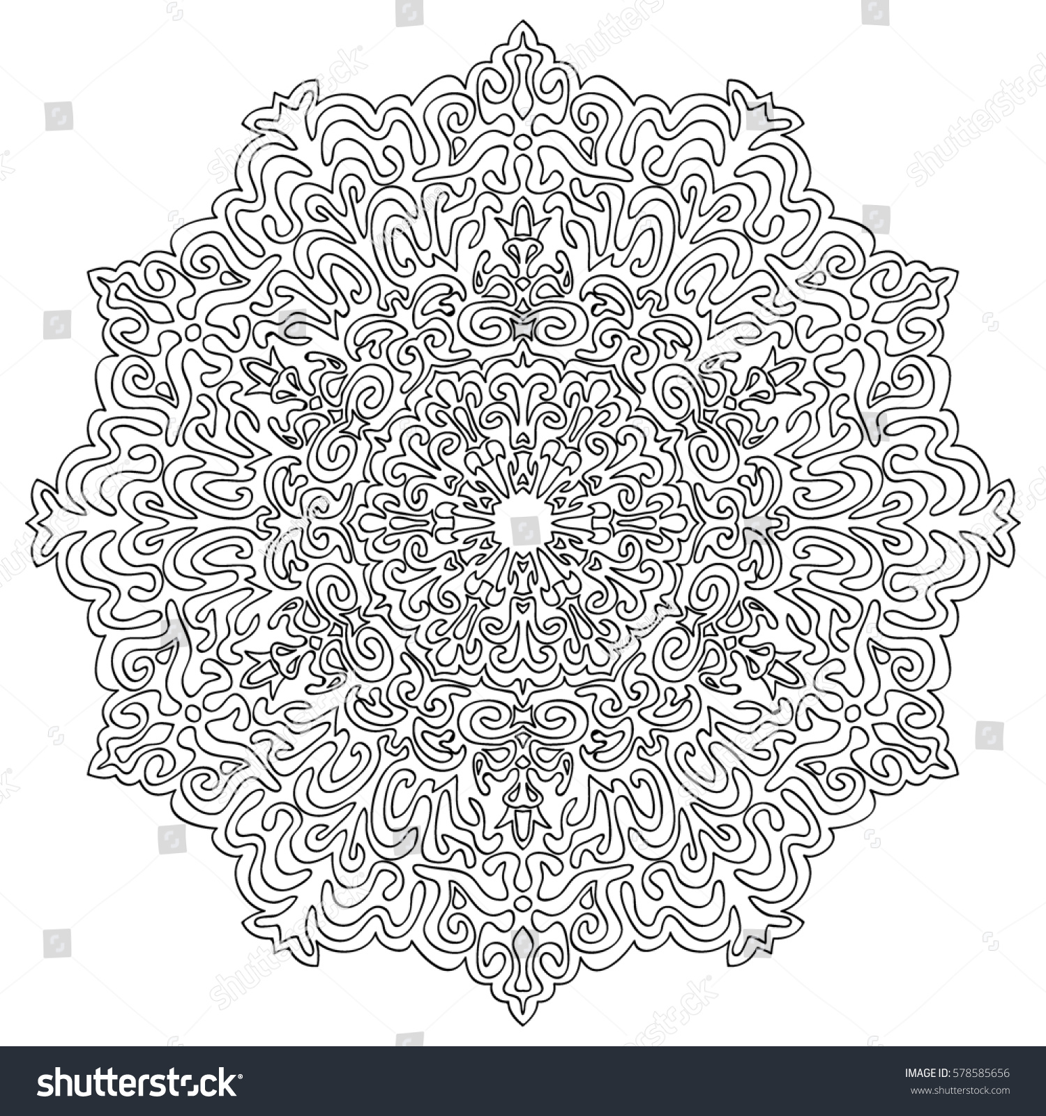 Adult Coloring Book Page Ethnic Orient Stock Illustration 578585656