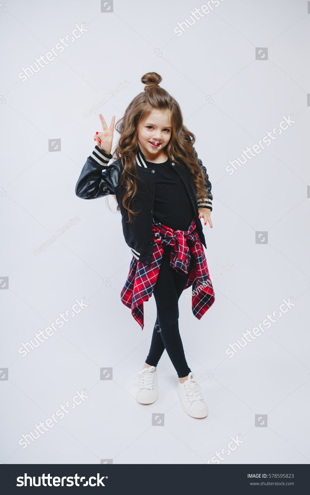 portrait little hipster girl bomber jacket stock photo