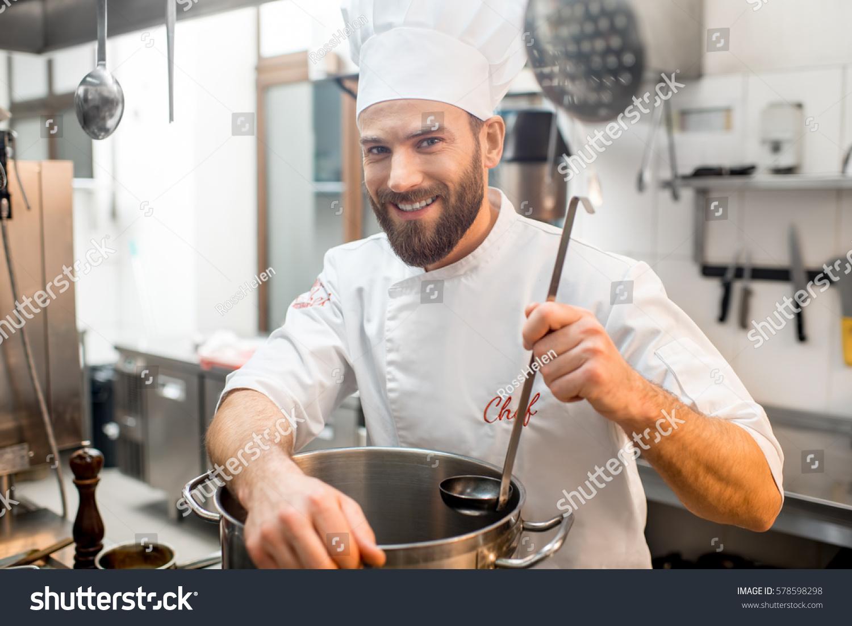 Portrait Chef Cook Uniform Big Cooker Stock Photo (Royalty Free ...