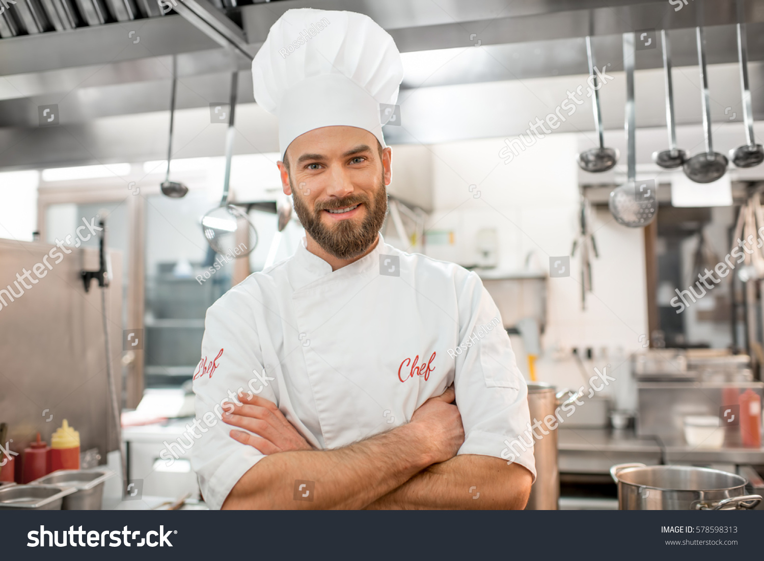 portrait handsome chef cook uniform restaurant stock photo edit now