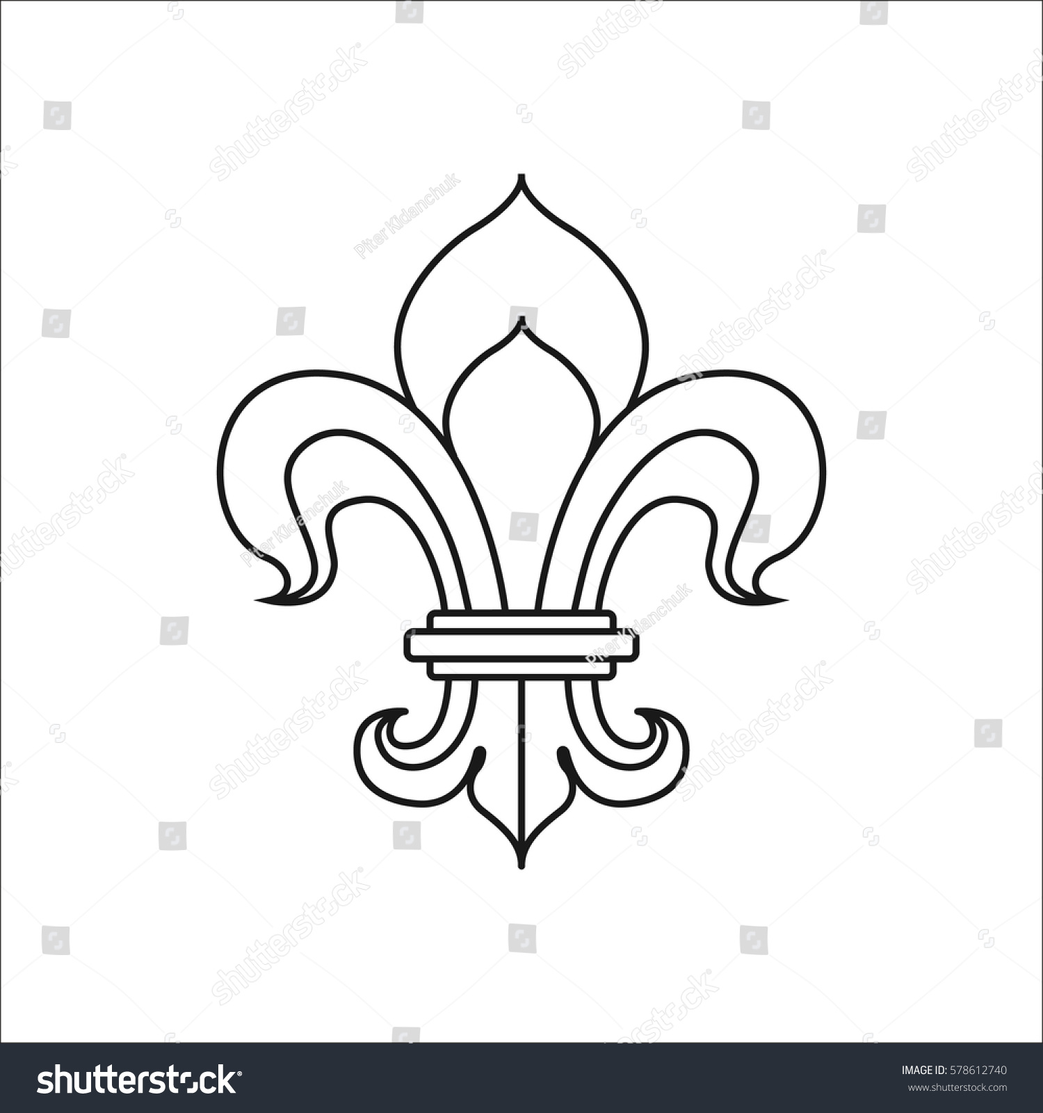 Royal lily fleur de lis symbol stock vector 578612740 shutterstock royal lily or fleur de lis symbol simple line icon on background biocorpaavc