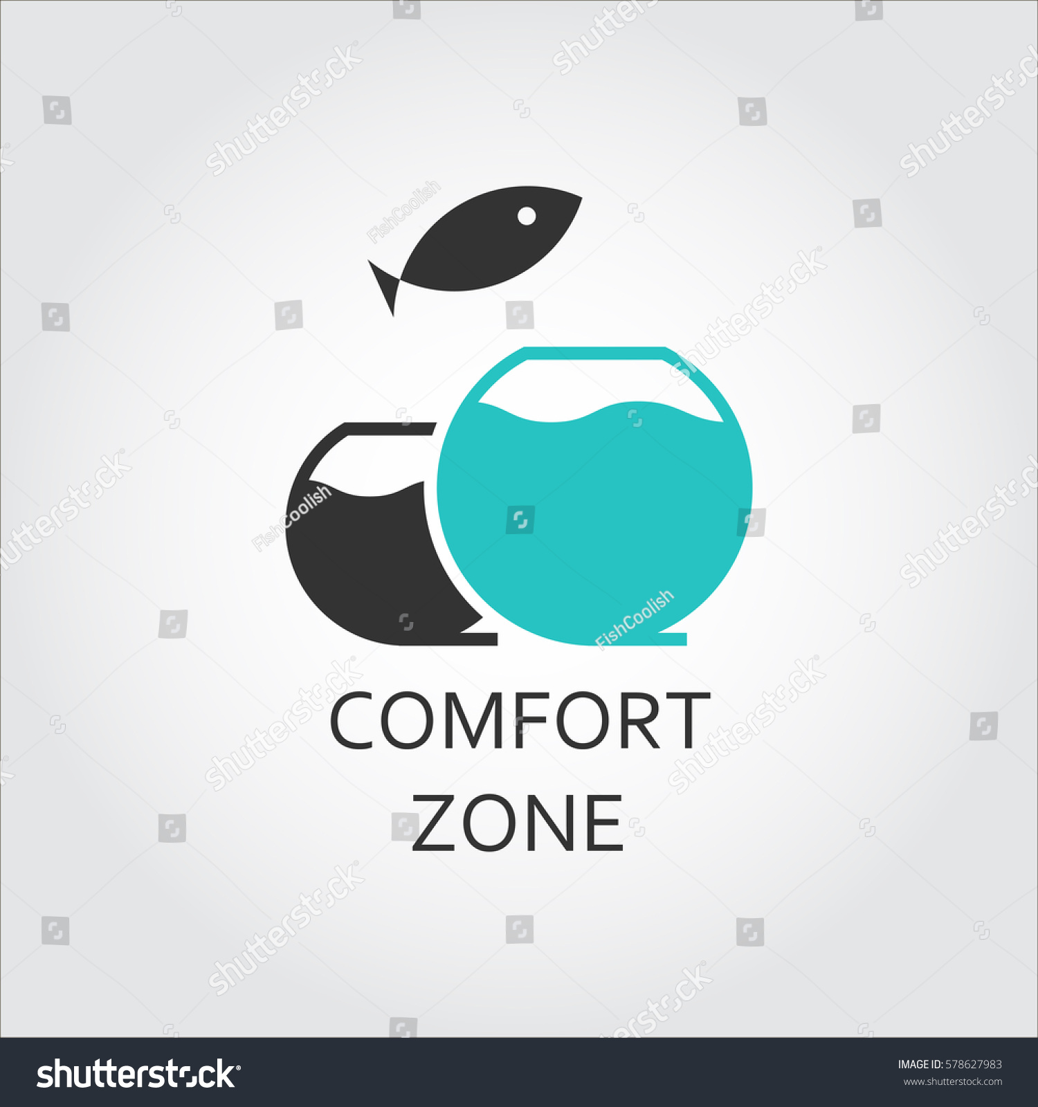 aquarium jumping fish comfort zone concept stock vector 578627983 shutterstock. Black Bedroom Furniture Sets. Home Design Ideas