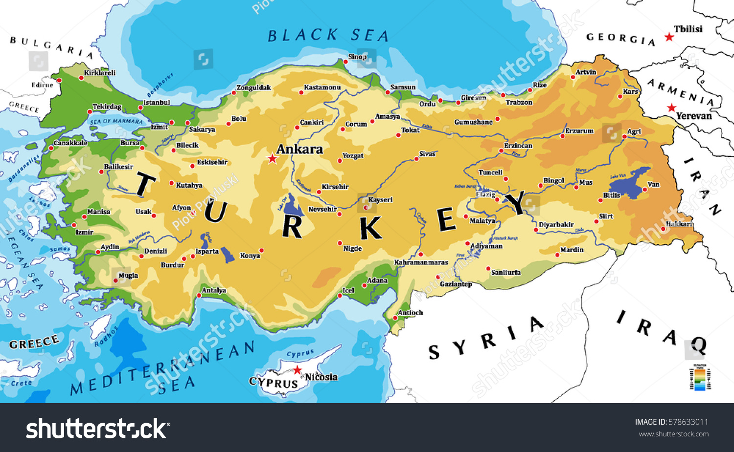 Turkey Physical Vector Map Stock Vector 578633011 Shutterstock