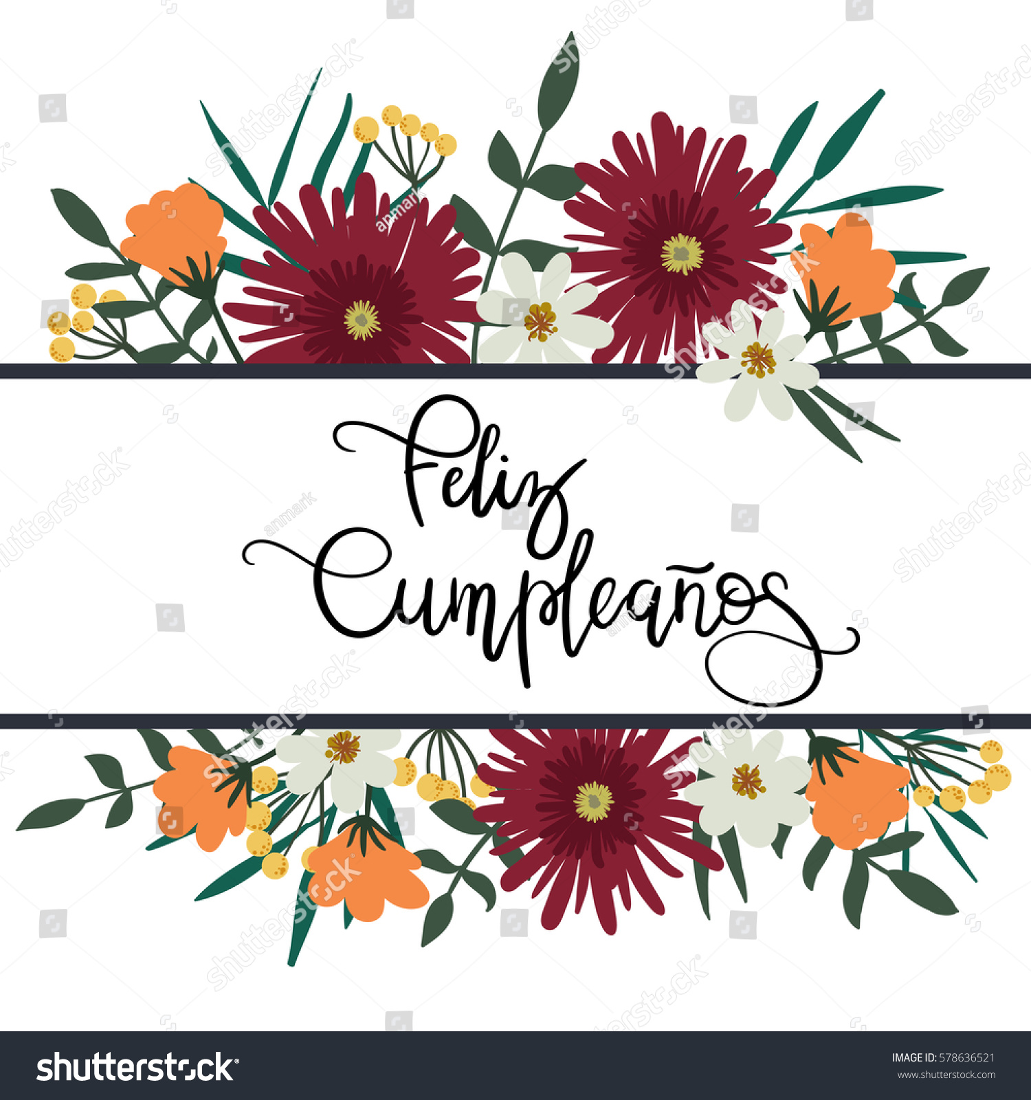 Feliz Cumpleanos Happy Birthday Spanish Hand Stock Vector 578636521