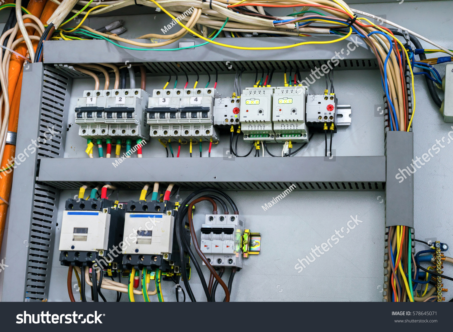 Electrical Control Panel Mounted Box Stock Photo (100% Legal ...