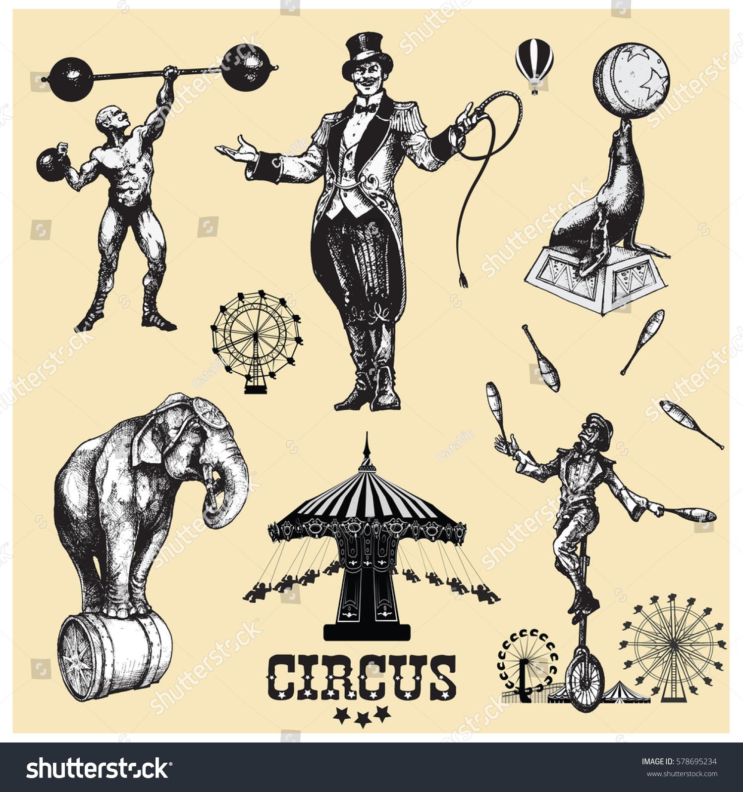 Circus Amusement Vector Illustrations Set Vintage Stock ...