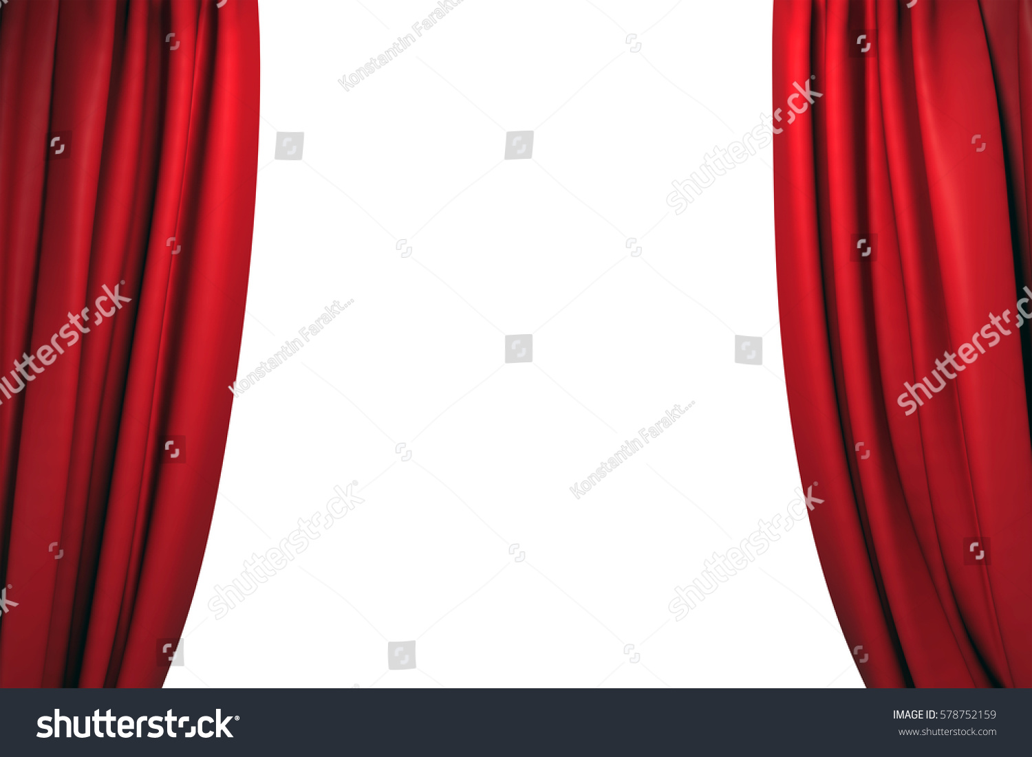 Open stage curtains - Open Red Velvet Stage Curtains On White Background 3d Illustration