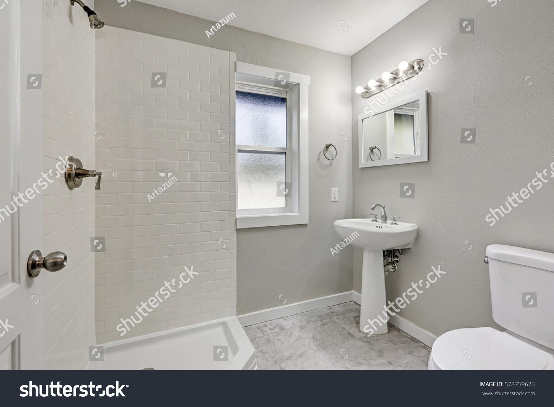 White Bathroom Interior Shower Washstand Toilet Stock Photo (Royalty ...