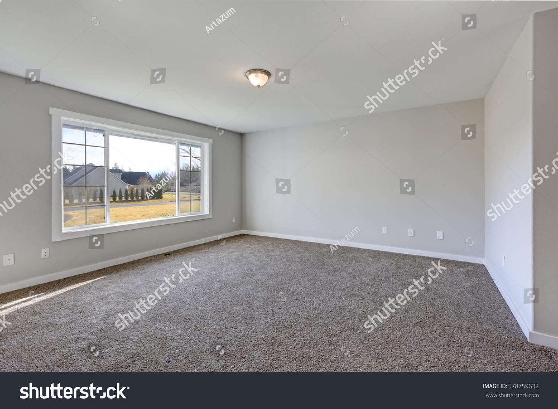 Empty Pale Grey Room Interior With Carpet Floor. Northwest, USA