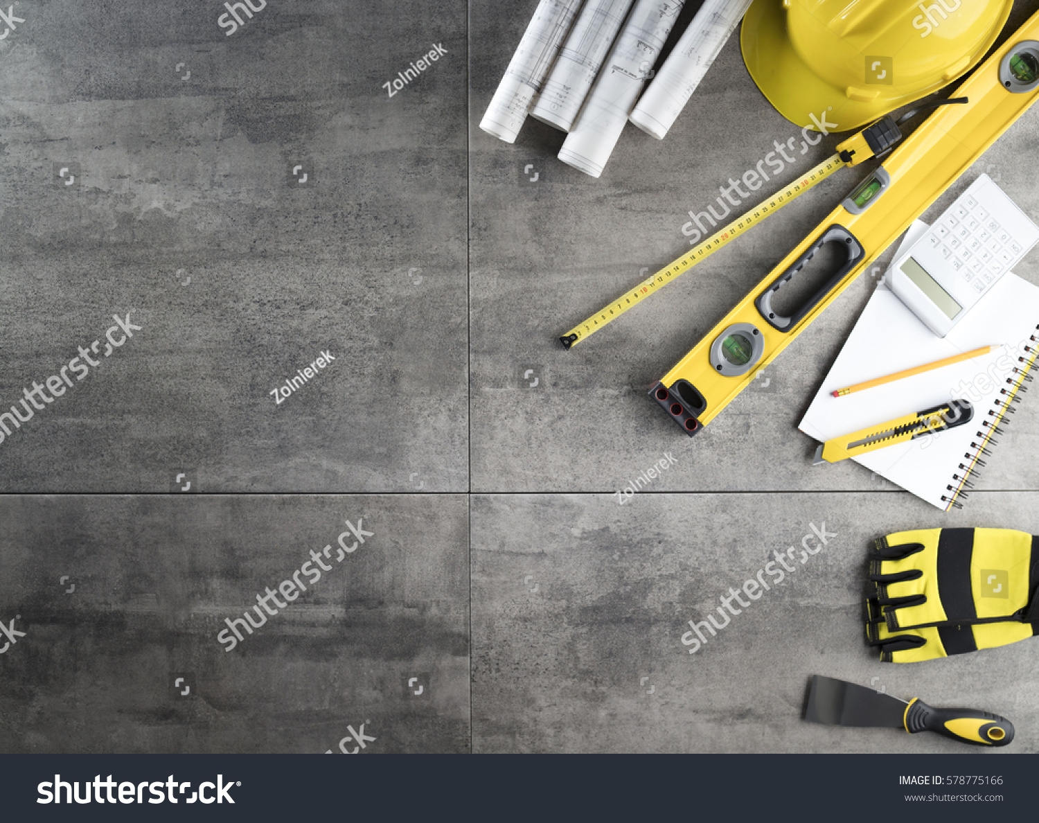 Contractor concept background. Top view. Place for typography. #578775166