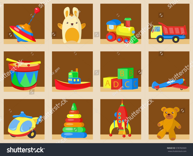 Interior wooden shelves free vector - Different Children Toys Set On Wooden Shelves Vector Illustration Toys Shop Or Store