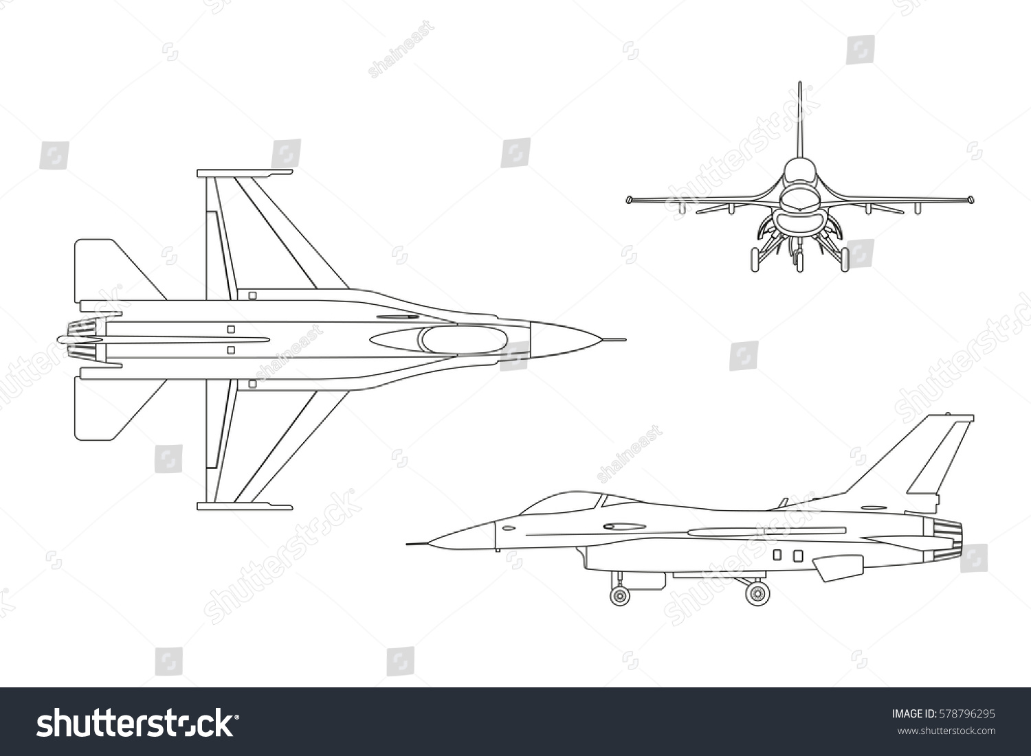 outline drawing military aircraft top side stock illustration