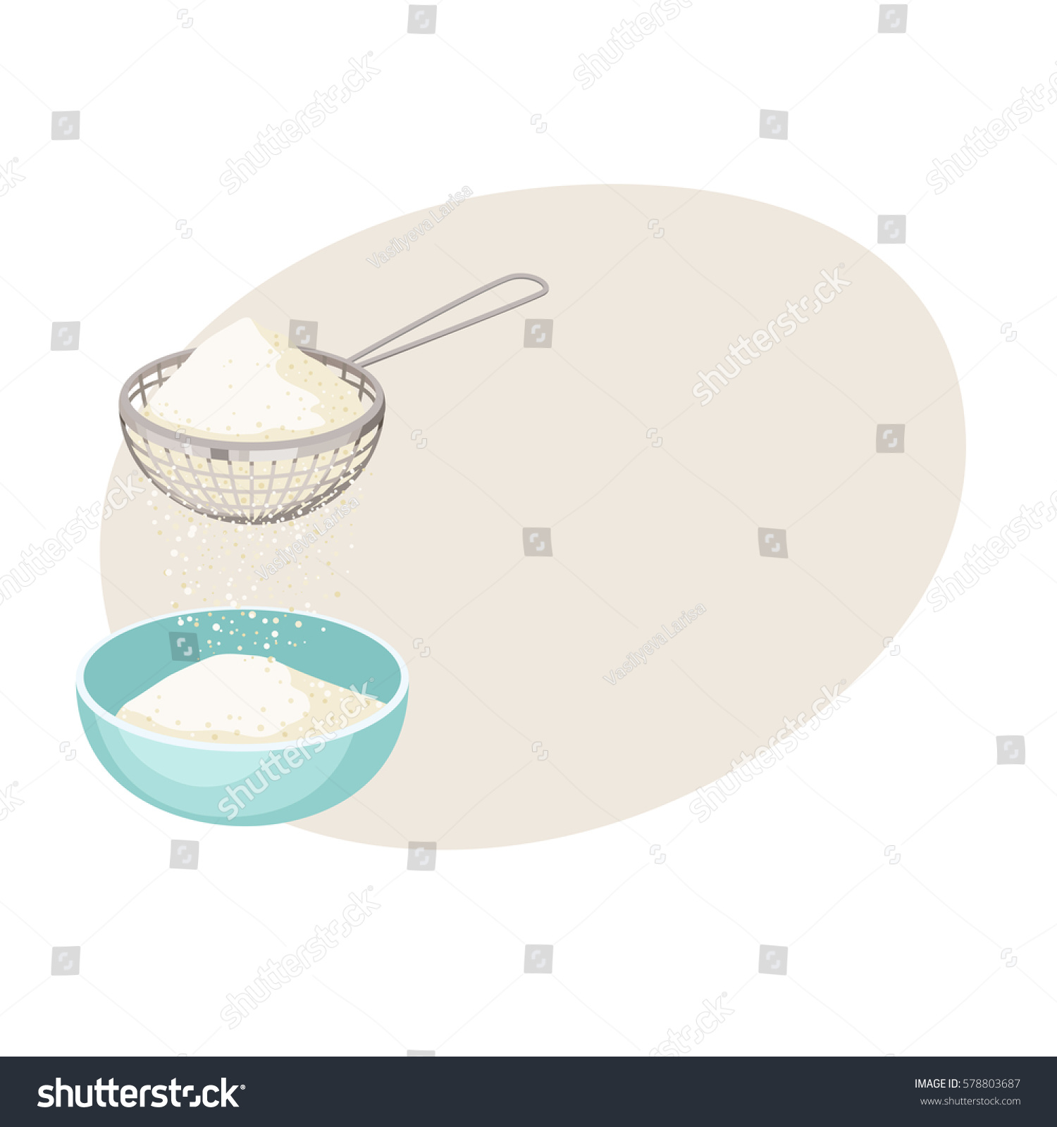 flour sifter sieve on cup baking stock vector 578803687 - shutterstock