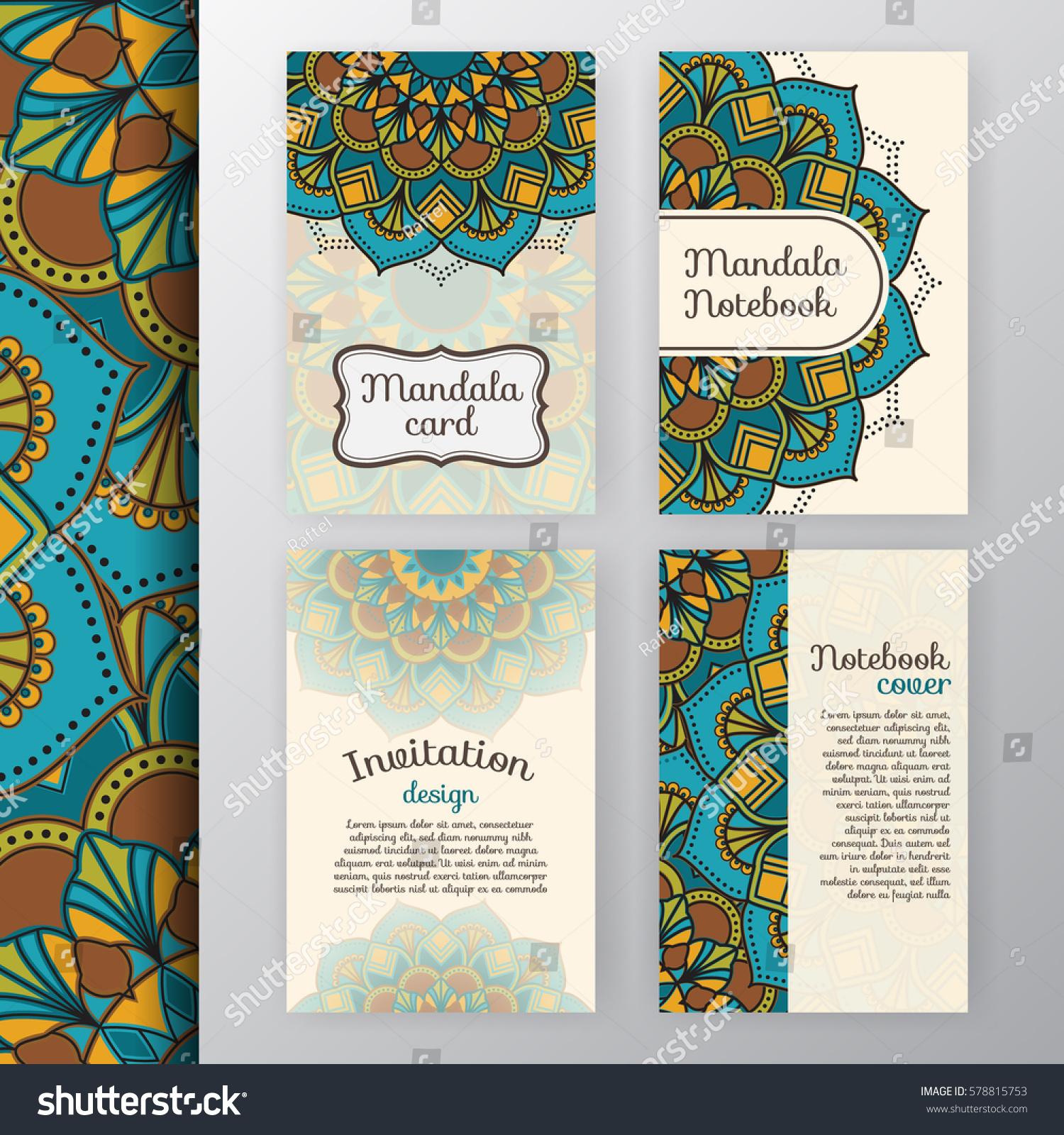 Set Vintage Invitation Background Design Mandala Stock Vector
