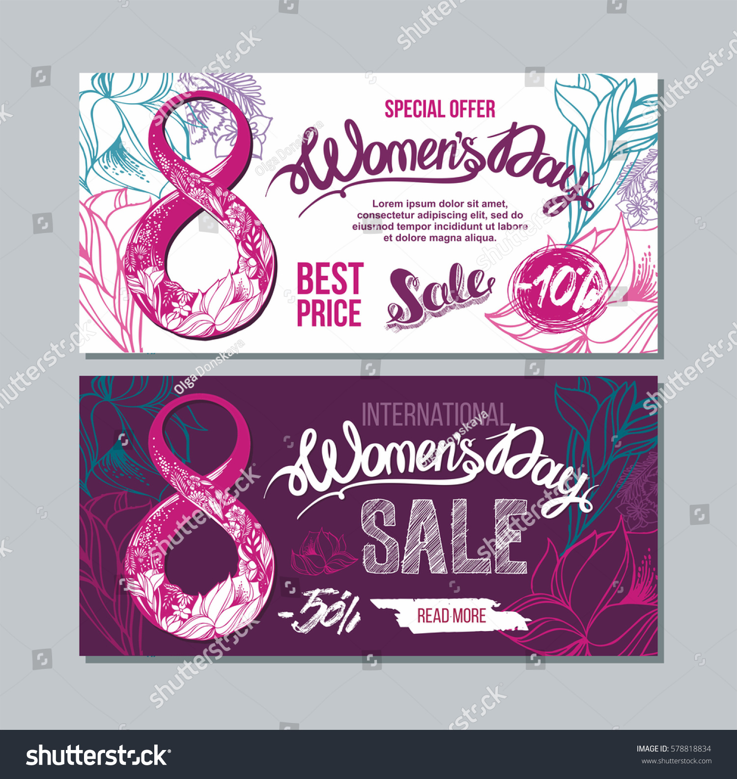 8 March Two Sides Poster Flyer Stock Vector 578818834