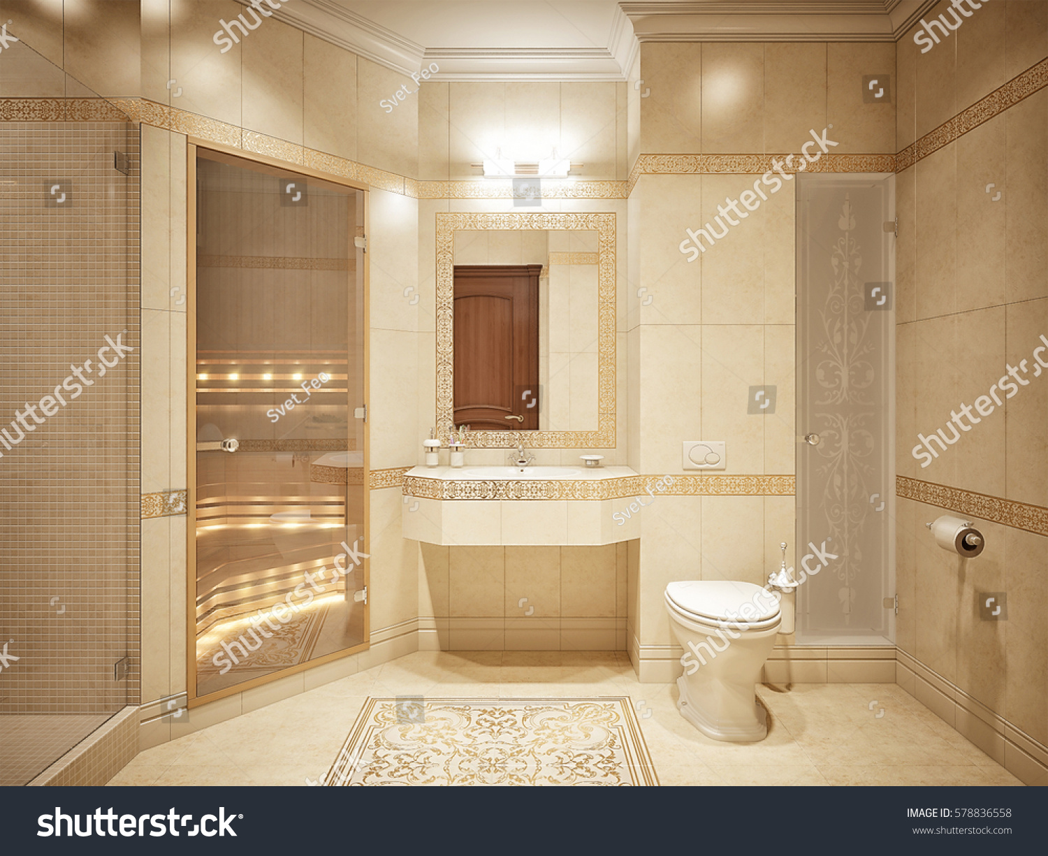 Luxurious bathroom interior design classic style stock for 3d bathroom decor