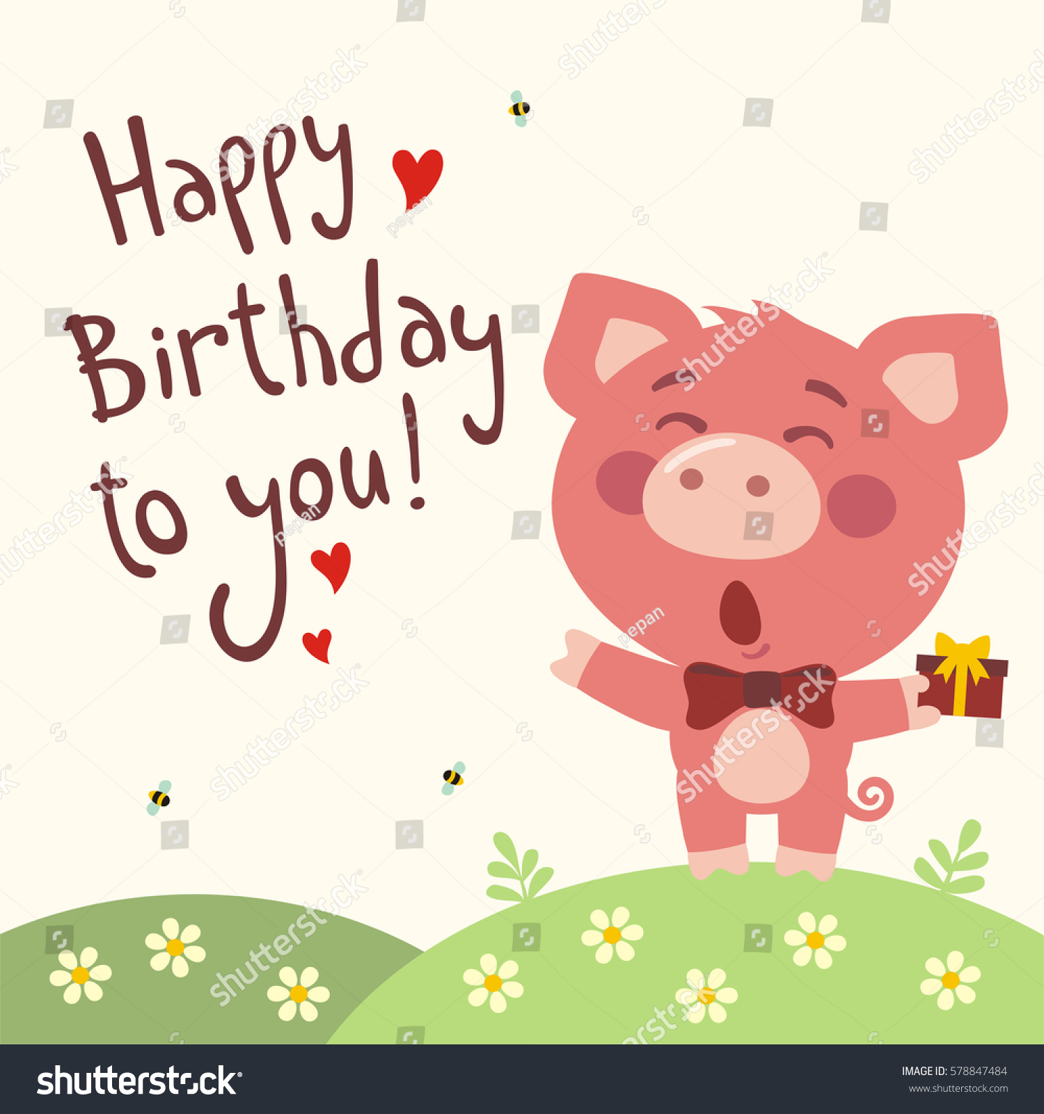 Funny Pig Sings Song Happy Birthday To You Greeting Card In Cartoon Style