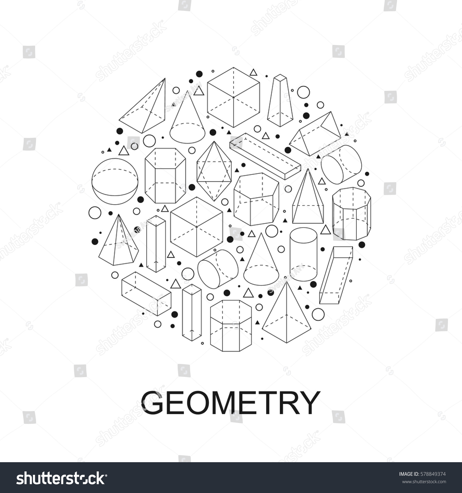 Geometry shapes round stamp symbol isometric stock vector round stamp symbol isometric outline black obgects linear math icon biocorpaavc