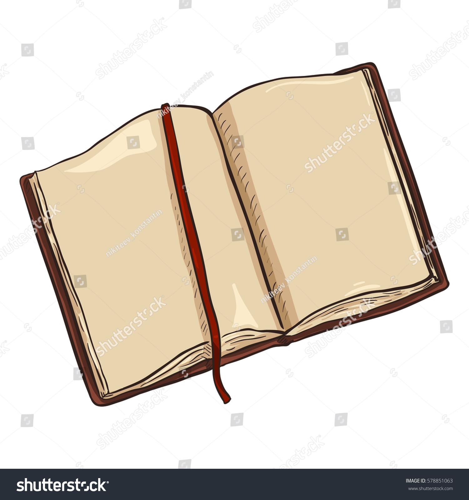 Cartoon Diary: Vector Single Cartoon Brown Open Diary Stock Vector