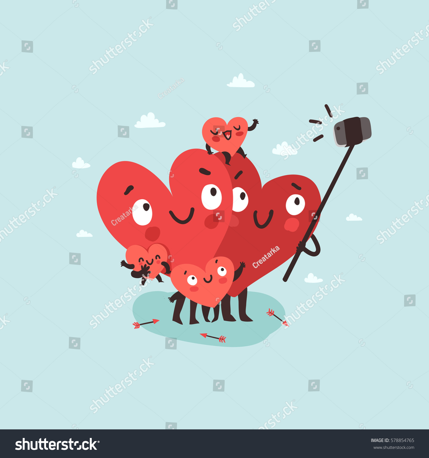 Family Selfie Hearts Characters Symbols Love Stock Vector Royalty