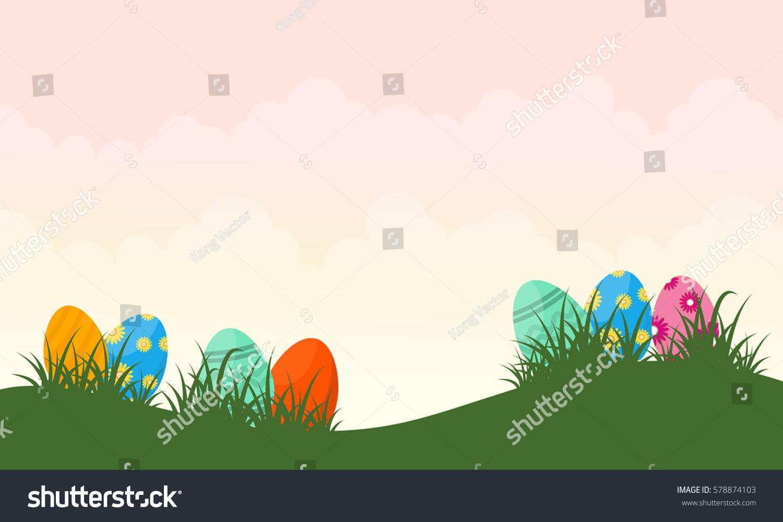 vector illustration easter egg on hill stock vector 578874103