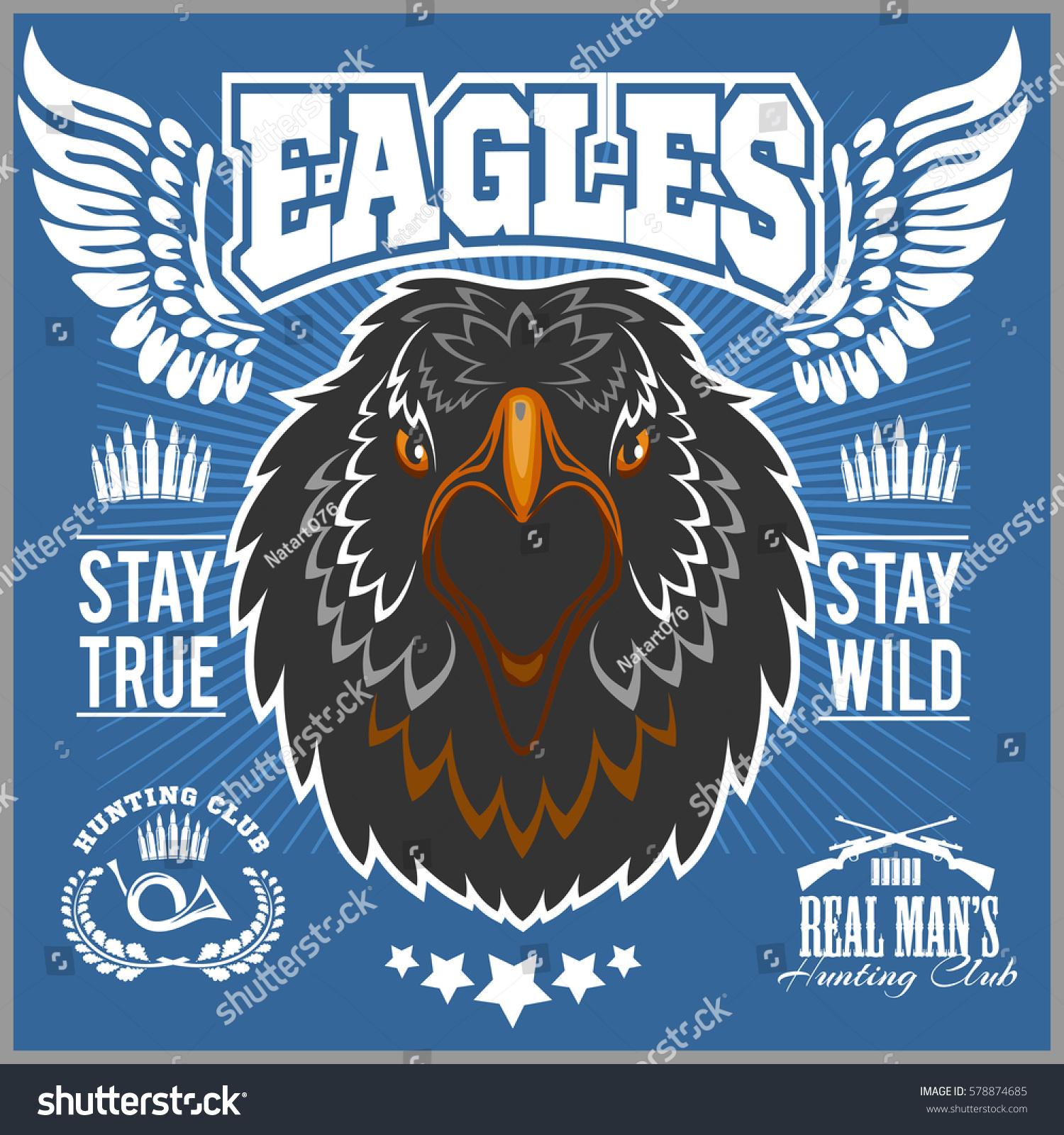Eagle Head Tshirt Print Hunting Club Stock Vector (Royalty