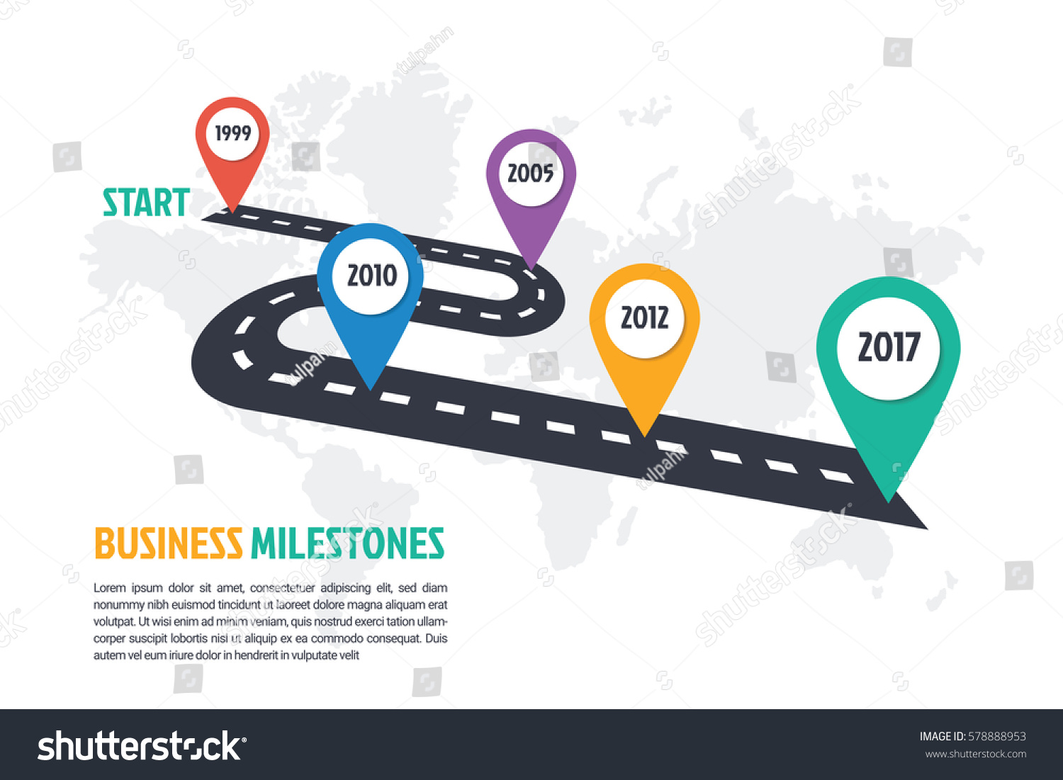 business minimal infographic template 5 steps stock vector 578888953